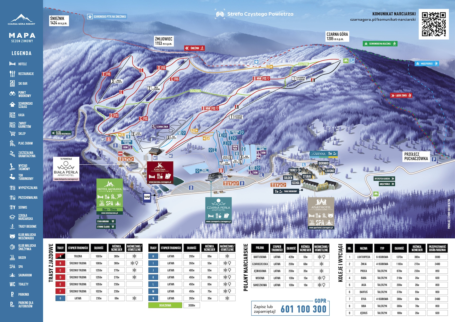 Mapa zimowa Ośrodek Narciarski Czarna Góra Resort